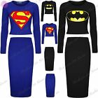 Womens Ladies Batman Superman Crop Cropped Tops Knee Length Bodycon Midi Skirt