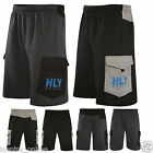 MENS FLEECE ELASTICATED CARGO SHORTS CASUAL TRAINING POCKETS GYM JOGGER PANTS