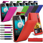 PU Leather Top Flip Case Skin Cover Pen+Film+Pen fits Vodafone Smart 4 Turbo