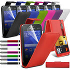 PU Leather Top Flip Case Skin Cover Pen+Film+Pen fits Samsung Galaxy Young 2