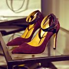 womens ladies suede leather ankle strap stilettos heels pumps pointy toe shoes