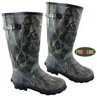 PRO LINE Mens Camo Wide Calf Fit Wellington Hunting Boots Rubber Mucker Wellies