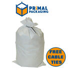 100 x WOVEN PP SACKS - SHREDDING SACKS/CONFIDENTIAL WASTE + FREE CABLE TIES