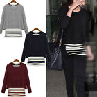 Korean Fashion Womens Long Sleeve Fake Two-piece Sweater Pullover T-Shirt Blouse