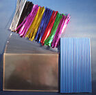 "CAKE POP KIT WITH 6"" BLUE PLASTIC STICKS + METALLIC TIES +15cm x 10cm CELLO BAGS"
