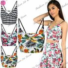 Womens Ladies Floral Summer Front Wrap Cross Strappy Boobtube Bralet Crop Top