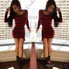 Womens Sexy Asymmetric Curved Hem Wrap Striped Bodycon Fitted Short Ladies Dress