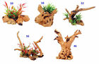 Driftwood & Plants Aquarium Terrarium Ornament Fish Tank Reptile Decoration