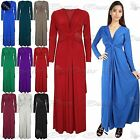 Womens Ladies Plain Elegant Cocktail Dinner Evening Front Knot Twist Maxi Dress