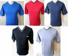 TEDDY SMITH T-Shirt Mens V/Neck S/S Tipped Tee Red Navy Black Royal Grey S - XXL