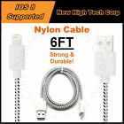 6FT Braided Nylon Charging Data Syncing Cable Cord Fits All iPad Air iPad Mini