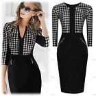 2015 Black New Womens Stylish Dog Tooth Print Office Party Celeb Bodycon Dresses