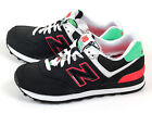 New Balance NB WL574HRK B Classic Casual Shoes Black/Hyper Punch-Green/White