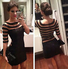 Fashion Women Sequins Stitching Gauze Round Collar Mini Skirt Night Club Dresses