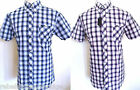 BEN SHERMAN Shirts Men's Short Sleeved Check Shirt B/D Mauve,Navy Size: Medium