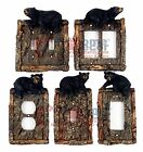 lodge decoration - Black Bear Switch Plate Covers Faux Wood Look Cabin Decor Lodge Outlet Rockers