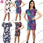 Womens Ladies Floral Round Neck Short Sleeve Stretchy Fitted Bodycon Midi Dress