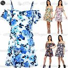 Womens Ladies Printed Bardot Off Shoulder Strappy Camisole Stretchy Swing Dress