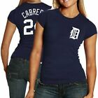 Majestic Detroit Tigers #24 Miguel Cabrera Ladies Navy Blue Player T-shirt
