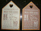 NEW SHABBY CHIC BATHROOM RULES CHUNKY WOODEN SIGN PLAQUE DISTRESSED CHRISTMAS
