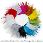 Neotrims REAL Feather Flame Retardant Trimming Fringe, Satin Ribbon, 12 colours