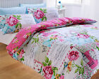 Multi Coloured Scrapbook Shabby Chic Reversible Duvet Set Single Double King