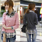 Fashion Womens Autumn/ Spring Long Sleeve Plaid Loose T-shirt Casual Tops Blouse