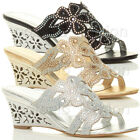 WOMENS LADIES MID HIGH HEEL WEDGE PROM PARTY DIAMANTE MULES SANDALS SHOES SIZE