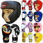 Kids Boxing Gloves & Head Guard Set Junior Punch Bag Head Protection Boxing