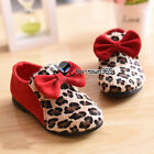 Spring Baby Child Toddlers Kids Girls Princess Leopard Front Bow knot Flat Shoes