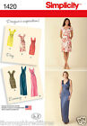 Simplicity 1420 Sewing Pattern Side Gather Straight Day Party Dress Ladies 6-24
