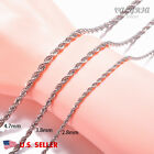 VALYRIA Men's Women's Stainless Steel Rope Chain Necklace 22''-26'' 3-5mm USA