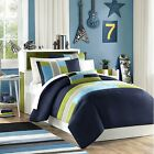 MODERN REVERSIBLE BLUE TEAL ORANGE GREEN TAN STRIPE BOYS SOFT COMFORTER SET NEW! image