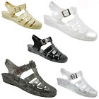 LADIES WOMENS GIRLS FLAT RETRO SUMMER BEACH JELLY SANDALS FLIP FLOPS SHOES SIZE