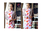 Chinese Women Dress Vintage Medium Long Cheongsam Big Floral Qipao HuaTian