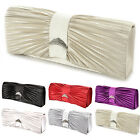 LADIES SATIN DIAMANTE EVENING CLUTCH BRIDAL WEDDING CLUTCH BAG HANDBAG