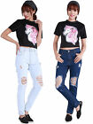 Women Casual Mid-rise Hole Ripped Personality Washed Denim Pants Jeans Slim Cuff