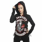 VIXXSIN HEART BREAKER HOOD LADIES BLACK GOTHIC DEATH CORSET LACE ZIP