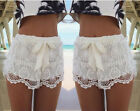 Women Lace Short Korean Sweet Fashion Crochet Tiered Pants Shorts Skorts Holiday
