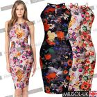 Womens Summer Floral Tropical Print Ladies Fitted Bodycon Cocktail Party Dresses