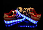 New Womens  Lace Up Flag Printing Led Night Light Up Fashion USB Shoes Plus Size