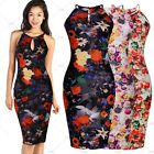 New Hawaiian Multicolor Floral Flower Print Stretch Summer Casual Cocktail Dress