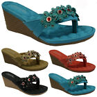 LADIES SANDALS WOMENS SUMMER COMFORT CASUAL WALKING FLAT BEACH MULES SHOES SIZE