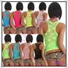 Sexy Women's Lace Tank Top Ladies Summer Casual Vest Top One Size 6,8,10 UK