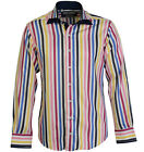 Claudio Lugli Branded Mens Long Sleeve Double Collar Multistripe Shirt