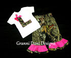 Camo Applique letter shirt and pants hot pink mossy oak baby girl 0- 5t