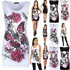 Womens Ladies Racer Back Glitter Floral Butterfly Print Sleeveless Vest Top