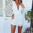 2015 spring new  fashion women sexy V neck lace jumpsuit black / white S-XL