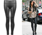 Ladies High Waist Normal Black Faux Leather Leggings Wet Look Shiny Stretchy