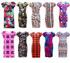Girls Midi Dress Kids Bodycon Print Summer Party Dresses Outfit Age 7-13 Years